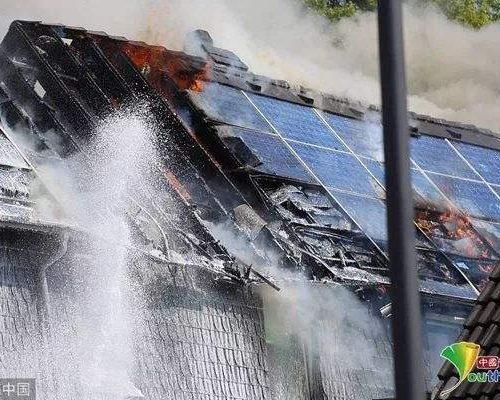burned solar panel